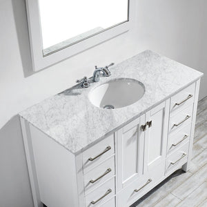 "Gela 48"" Single Vanity in White with Carrara White Marble Countertop Vinnova Vanities"
