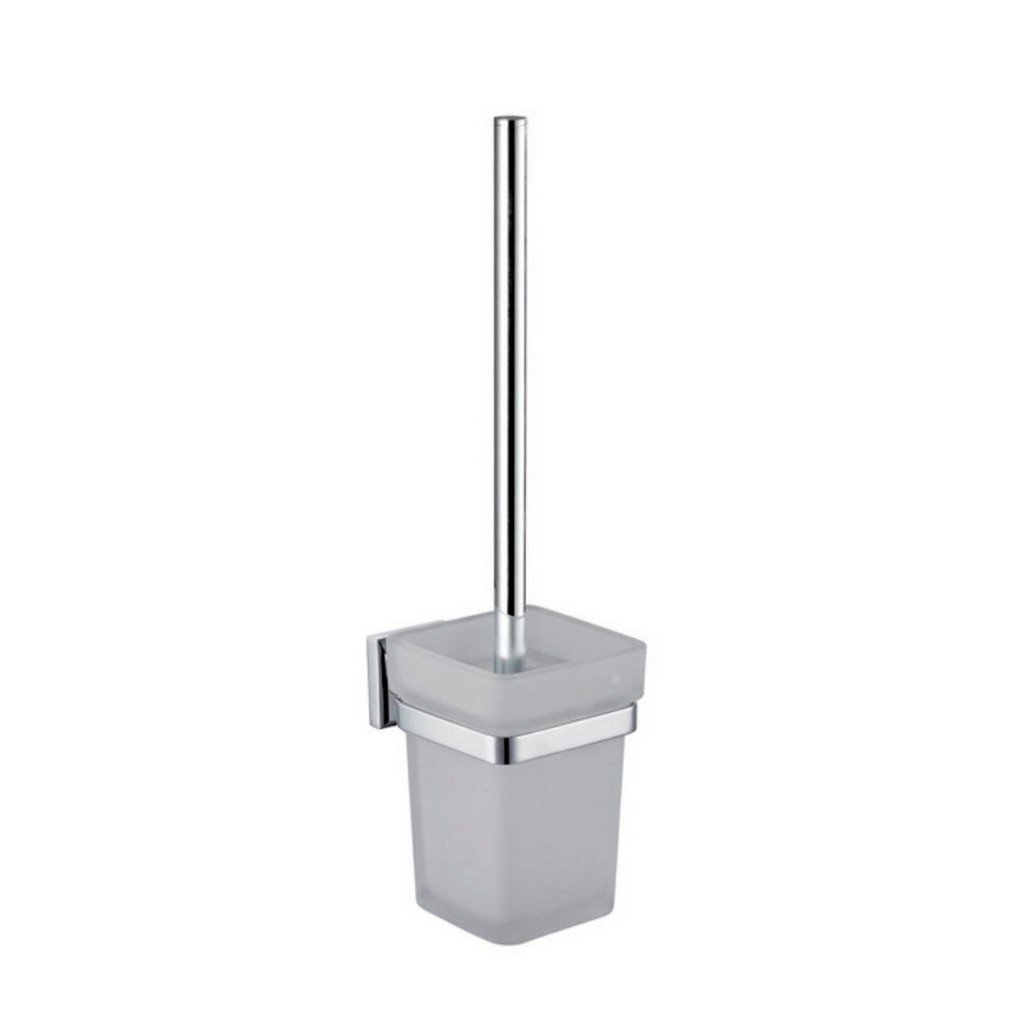 KubeBath Aqua Nuon Toilet Brush with Frosted Glass Cup KubeBath Toilet Brushes Chrome