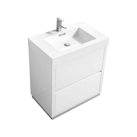 "KubeBath Bliss 30"" Freestanding Modern Bathroom Vanity KubeBath Vanities Gloss White"