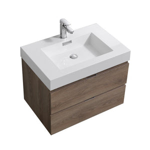 "KubeBath Bliss 30"" Wall Mounted Modern Bathroom Vanity KubeBath Vanities Butternut"