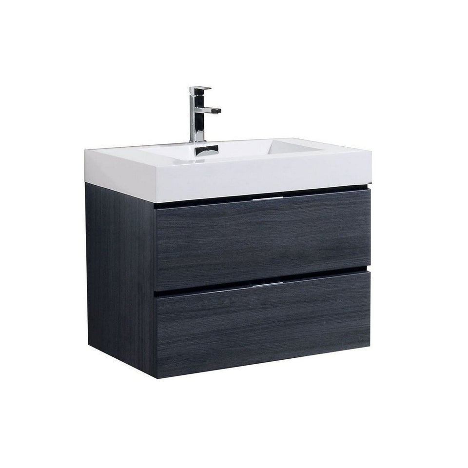 "KubeBath Bliss 30"" Wall Mounted Modern Bathroom Vanity KubeBath Vanities Gray Oak"