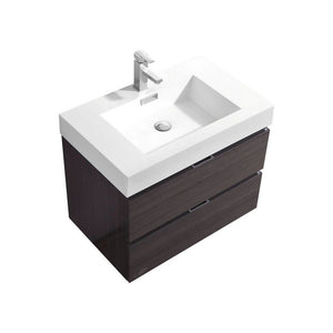 "KubeBath Bliss 30"" Wall Mounted Modern Bathroom Vanity KubeBath Vanities Gloss Gray Oak"