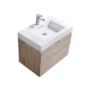 "KubeBath Bliss 30"" Wall Mounted Modern Bathroom Vanity KubeBath Vanities Natural Wood"