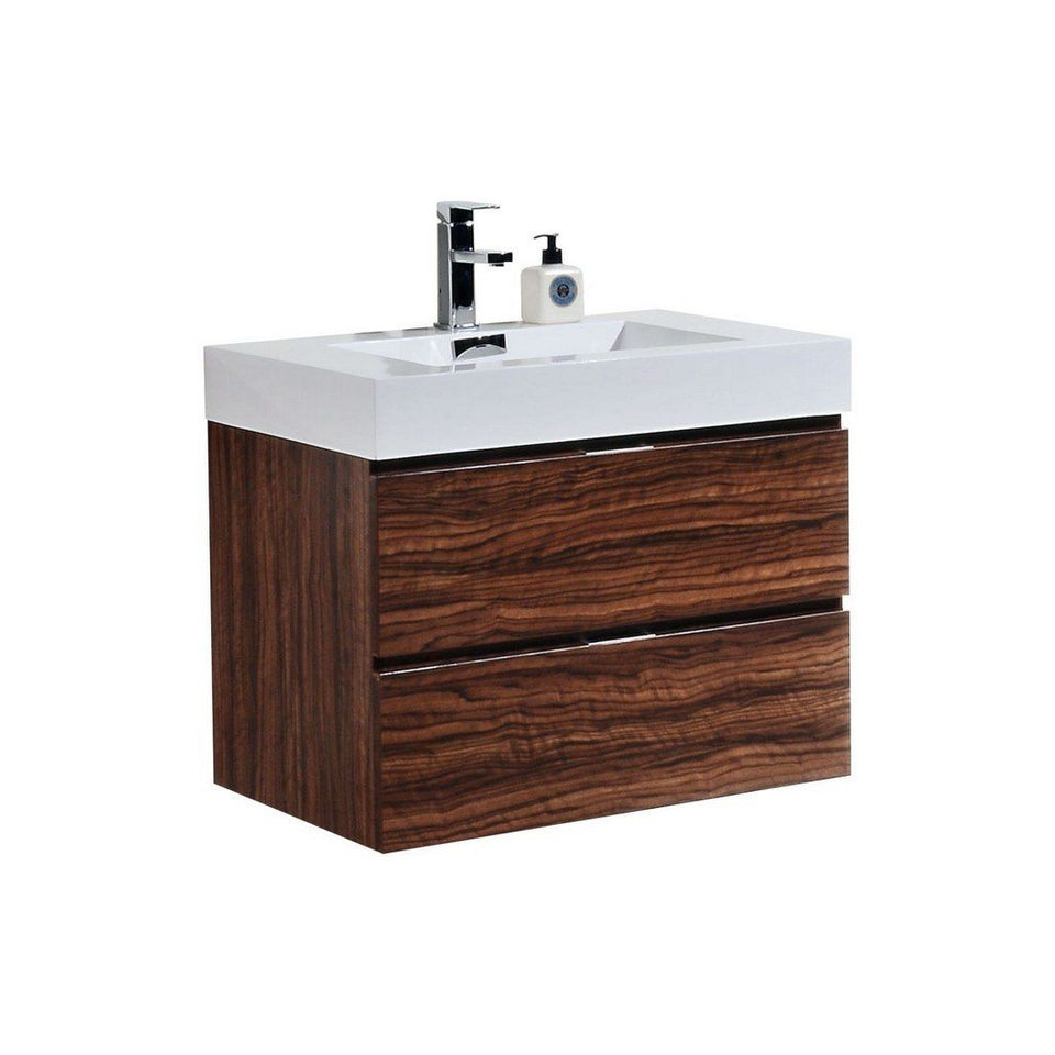 "KubeBath Bliss 30"" Wall Mounted Modern Bathroom Vanity KubeBath Vanities Walnut"