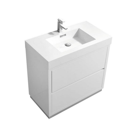 "KubeBath Bliss 36"" Freestanding Modern Bathroom Vanity KubeBath Vanities Gloss White"