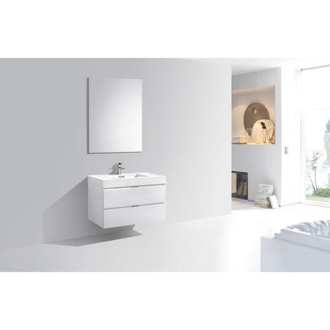 "KubeBath Bliss 36"" Wall Mounted Modern Bathroom Vanity KubeBath Vanities Gloss White"