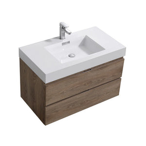 "KubeBath Bliss 36"" Wall Mounted Modern Bathroom Vanity KubeBath Vanities Butternut"