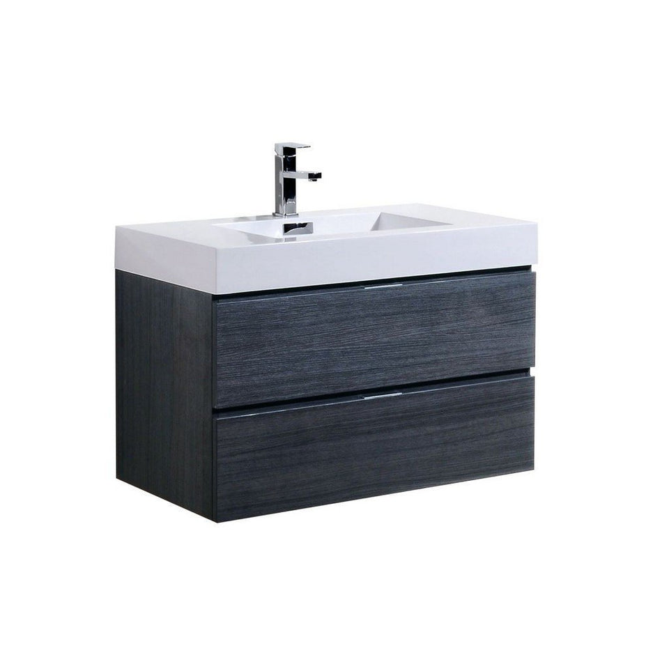 "KubeBath Bliss 36"" Wall Mounted Modern Bathroom Vanity KubeBath Vanities Gray Oak"