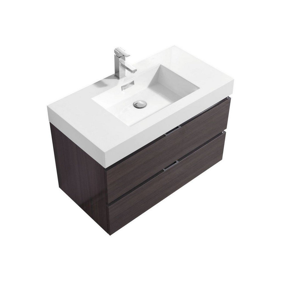 "KubeBath Bliss 36"" Wall Mounted Modern Bathroom Vanity KubeBath Vanities Gloss Gray Oak"