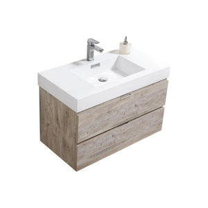 "KubeBath Bliss 36"" Wall Mounted Modern Bathroom Vanity KubeBath Vanities Natural Wood"
