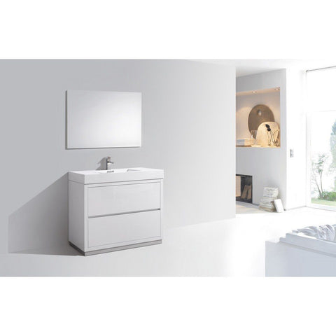 "KubeBath Bliss 40"" Freestanding Modern Bathroom Vanity KubeBath Vanities Gloss White"