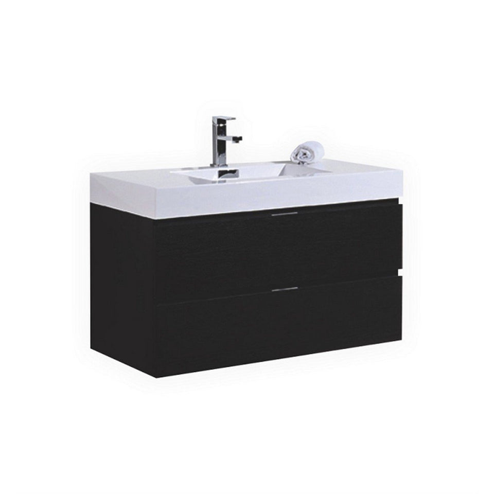 "KubeBath Bliss 40"" Wall Mounted Modern Bathroom Vanity KubeBath Vanities Black"