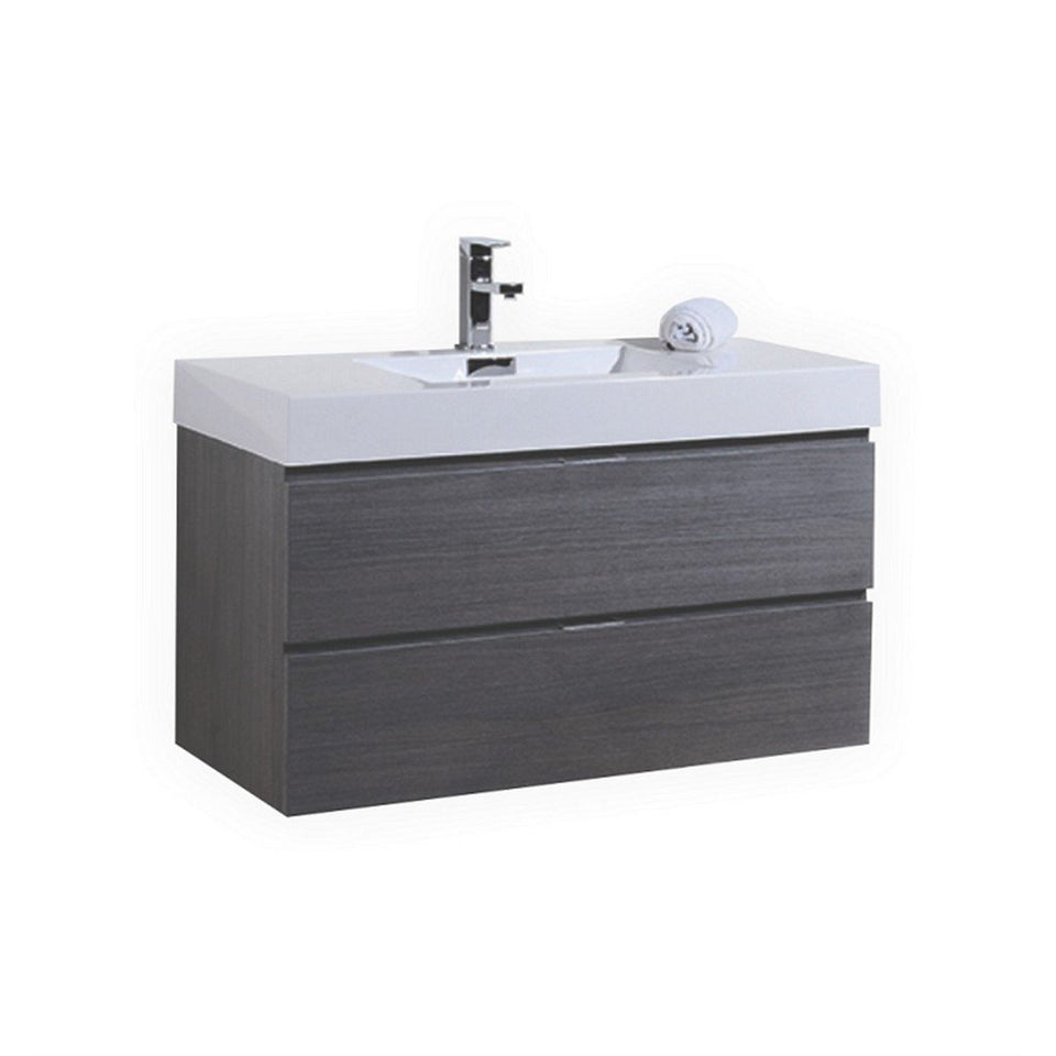 "KubeBath Bliss 40"" Wall Mounted Modern Bathroom Vanity KubeBath Vanities Gray Oak"