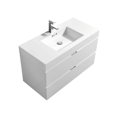 "KubeBath Bliss 40"" Wall Mounted Modern Bathroom Vanity KubeBath Vanities Gloss White"