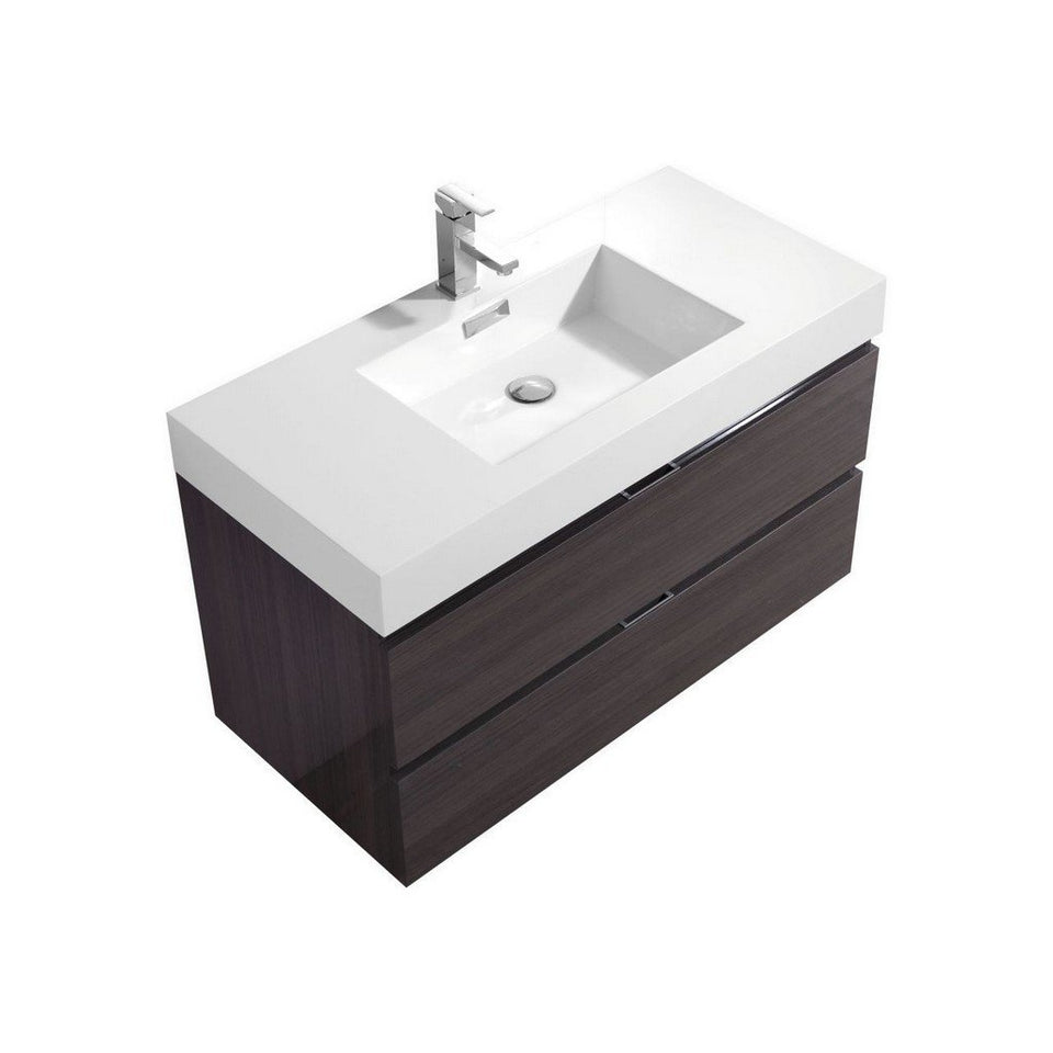 "KubeBath Bliss 40"" Wall Mounted Modern Bathroom Vanity KubeBath Vanities Gloss Gray Oak"