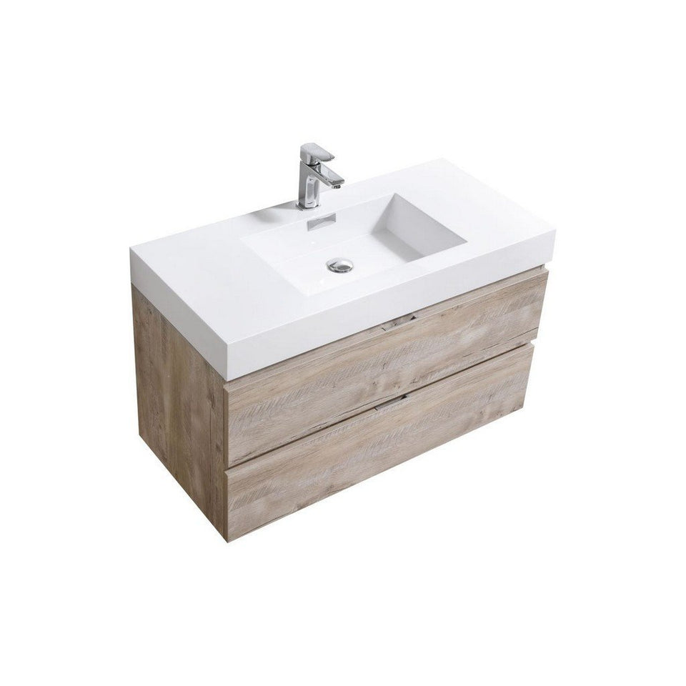 "KubeBath Bliss 40"" Wall Mounted Modern Bathroom Vanity KubeBath Vanities Natural Wood"