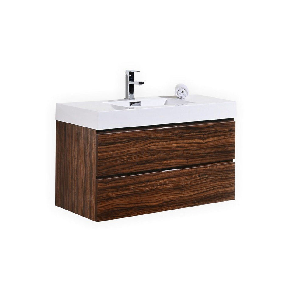 "KubeBath Bliss 40"" Wall Mounted Modern Bathroom Vanity KubeBath Vanities Walnut"