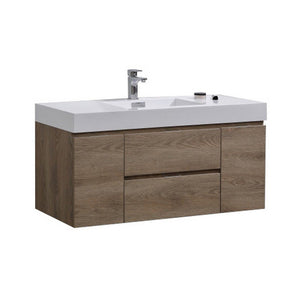 "KubeBath Bliss 48"" Wall Mounted Modern Bathroom Vanity KubeBath Vanities Butternut"