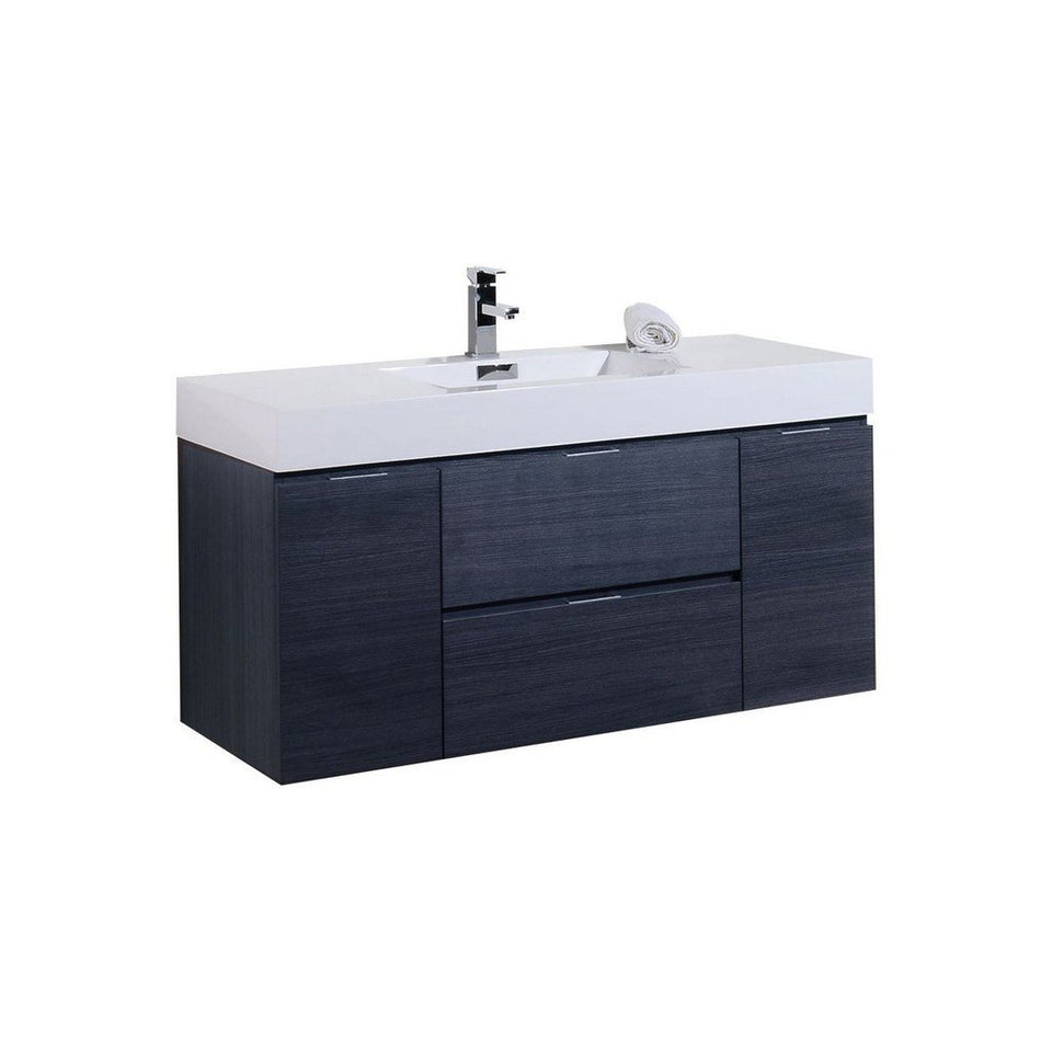 "KubeBath Bliss 48"" Wall Mounted Modern Bathroom Vanity KubeBath Vanities Gray Oak"