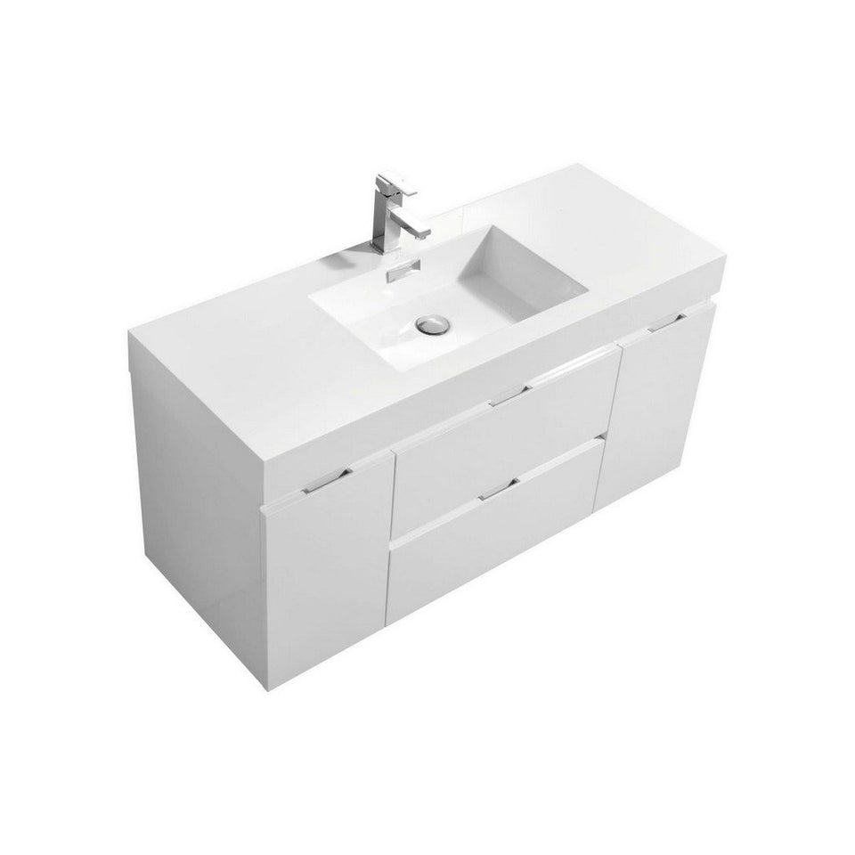 "KubeBath Bliss 48"" Wall Mounted Modern Bathroom Vanity KubeBath Vanities Gloss White"