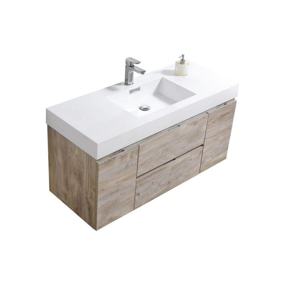 "KubeBath Bliss 48"" Wall Mounted Modern Bathroom Vanity KubeBath Vanities Natural Wood"
