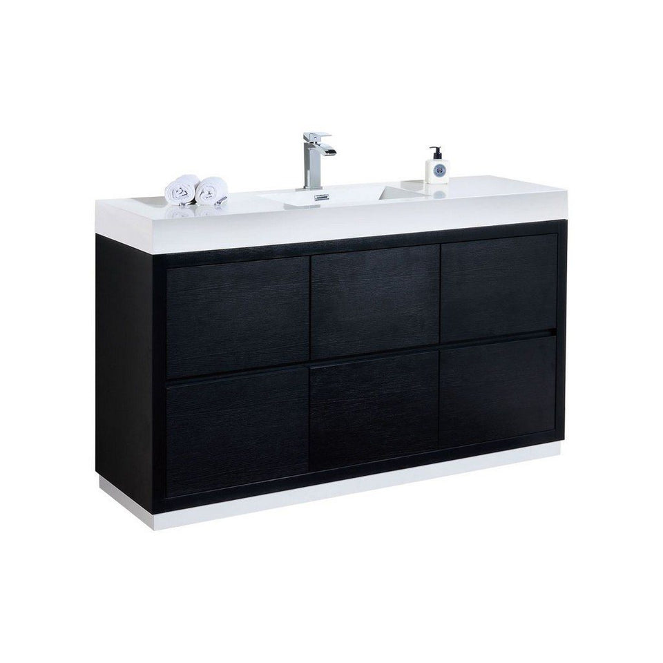 "KubeBath Bliss 60"" Freestanding Modern Single Bathroom Vanity KubeBath Vanities Black"