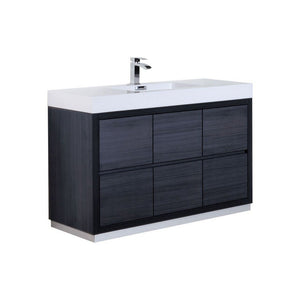 "KubeBath Bliss 60"" Freestanding Modern Single Bathroom Vanity KubeBath Vanities Gray Oak"