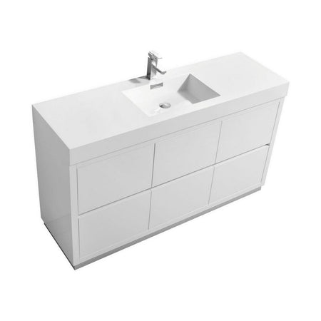 "KubeBath Bliss 60"" Freestanding Modern Single Bathroom Vanity KubeBath Vanities Gloss White"