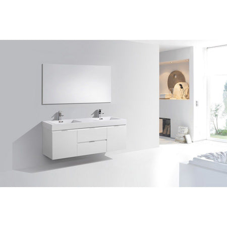 "KubeBath Bliss 60"" Wall Mounted Modern Double Bathroom Vanity KubeBath Vanities"