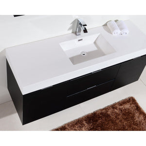 "KubeBath Bliss 60"" Wall Mounted Modern Single Bathroom Vanity KubeBath Vanities"