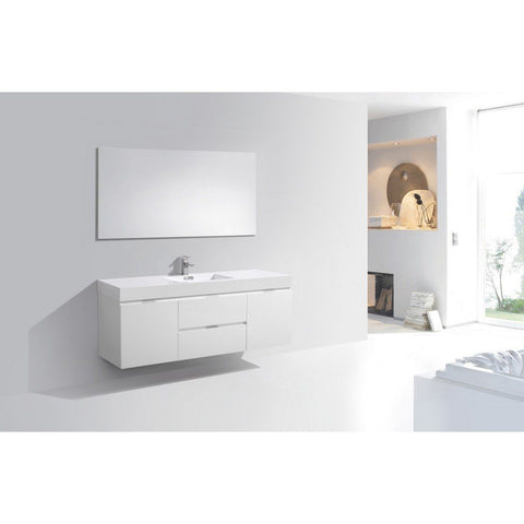 "KubeBath Bliss 60"" Wall Mounted Modern Single Bathroom Vanity KubeBath Vanities Gloss White"