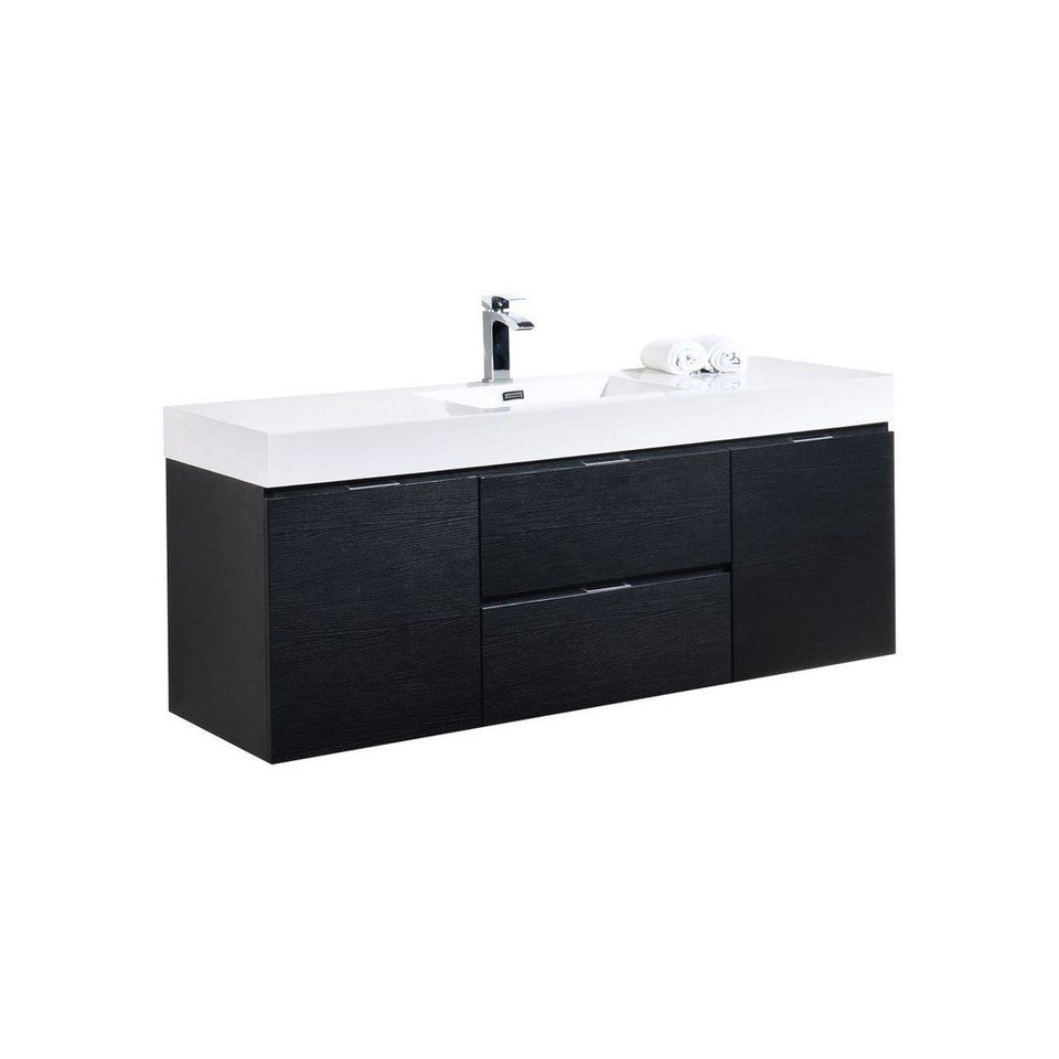 "KubeBath Bliss 60"" Wall Mounted Modern Single Bathroom Vanity KubeBath Vanities Black"