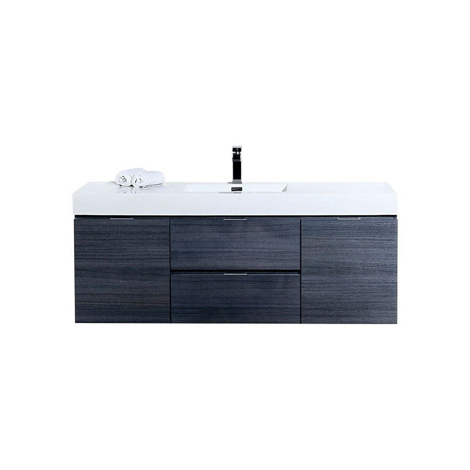 "KubeBath Bliss 60"" Wall Mounted Modern Single Bathroom Vanity KubeBath Vanities Gray Oak"
