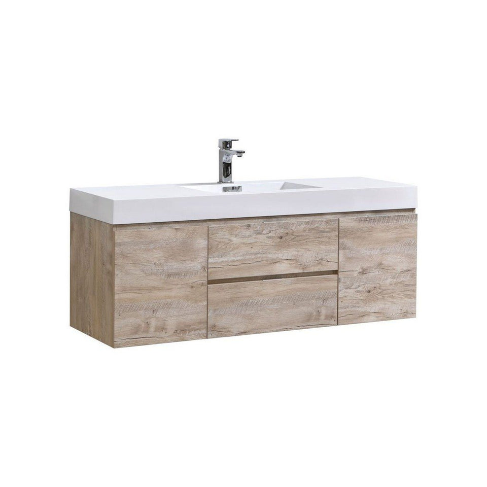 "KubeBath Bliss 60"" Wall Mounted Modern Single Bathroom Vanity KubeBath Vanities Natural Wood"