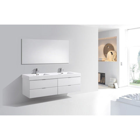 "KubeBath Bliss 72"" Wall Mounted Modern Bathroom Vanity KubeBath Vanities Gloss White"