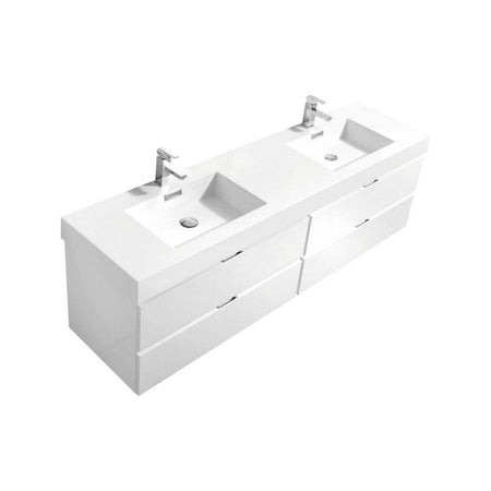 "KubeBath Bliss 80"" Wall Mounted Modern Bathroom Vanity KubeBath Vanities Gloss White"