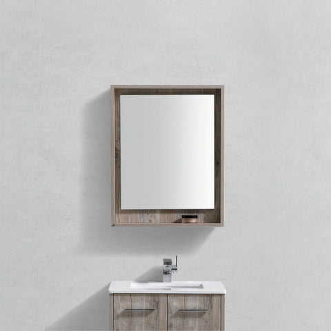 "KubeBath Bosco 24"" Framed Mirror With Shelf KubeBath Mirrors Natural Wood"