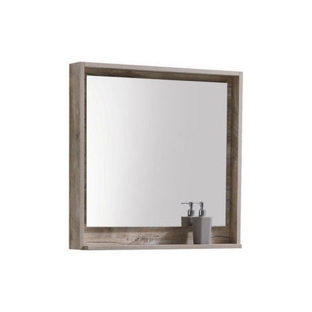 "KubeBath Bosco 30"" Framed Mirror With Shelf KubeBath Mirrors Natural Wood"