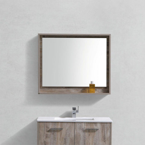 "KubeBath Bosco 36"" Framed Mirror With Shelf KubeBath Mirrors Natural Wood"