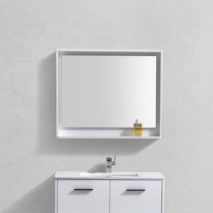 "KubeBath Bosco 36"" Framed Mirror With Shelf KubeBath Mirrors"