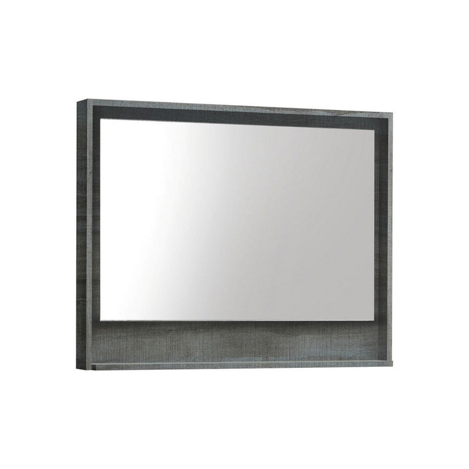 "KubeBath Bosco 36"" Framed Mirror With Shelf KubeBath Mirrors Ocean Gray"