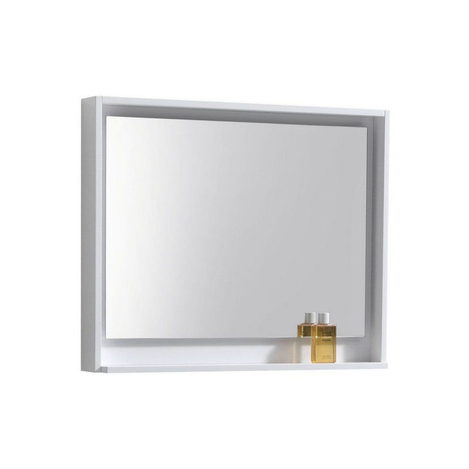 "KubeBath Bosco 36"" Framed Mirror With Shelf KubeBath Mirrors Gloss White"