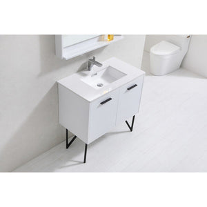 "KubeBath Bosco 36"" Modern Bathroom Vanity with Quartz Countertop KubeBath Vanities"