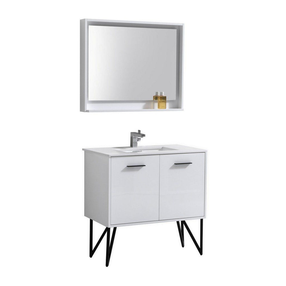 "KubeBath Bosco 36"" Modern Bathroom Vanity with Quartz Countertop KubeBath Vanities Gloss White"