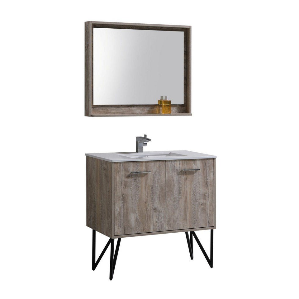 "KubeBath Bosco 36"" Modern Bathroom Vanity with Quartz Countertop KubeBath Vanities Natural Wood"
