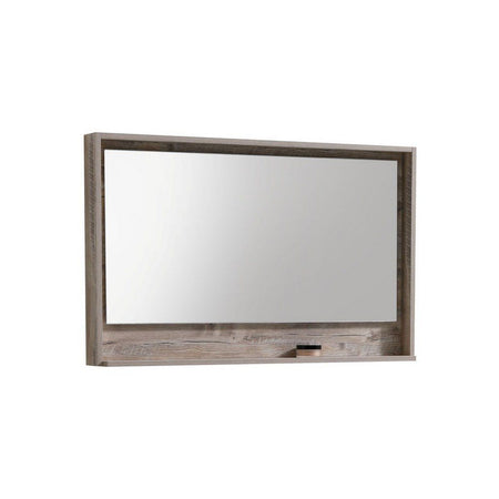 "KubeBath Bosco 48"" Framed Mirror With Shelf KubeBath Mirrors Natural Wood"