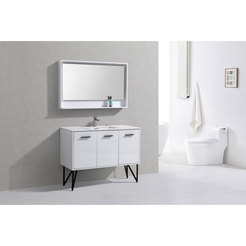 "KubeBath Bosco 48"" Modern Bathroom Vanity with Quartz Countertop KubeBath Vanities Gloss White"