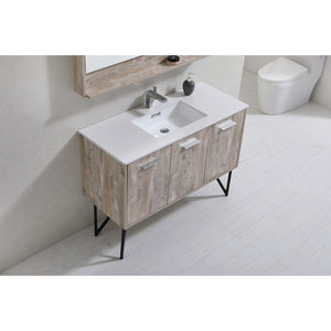 "KubeBath Bosco 48"" Modern Bathroom Vanity with Quartz Countertop KubeBath 48 inch Single Vanity"