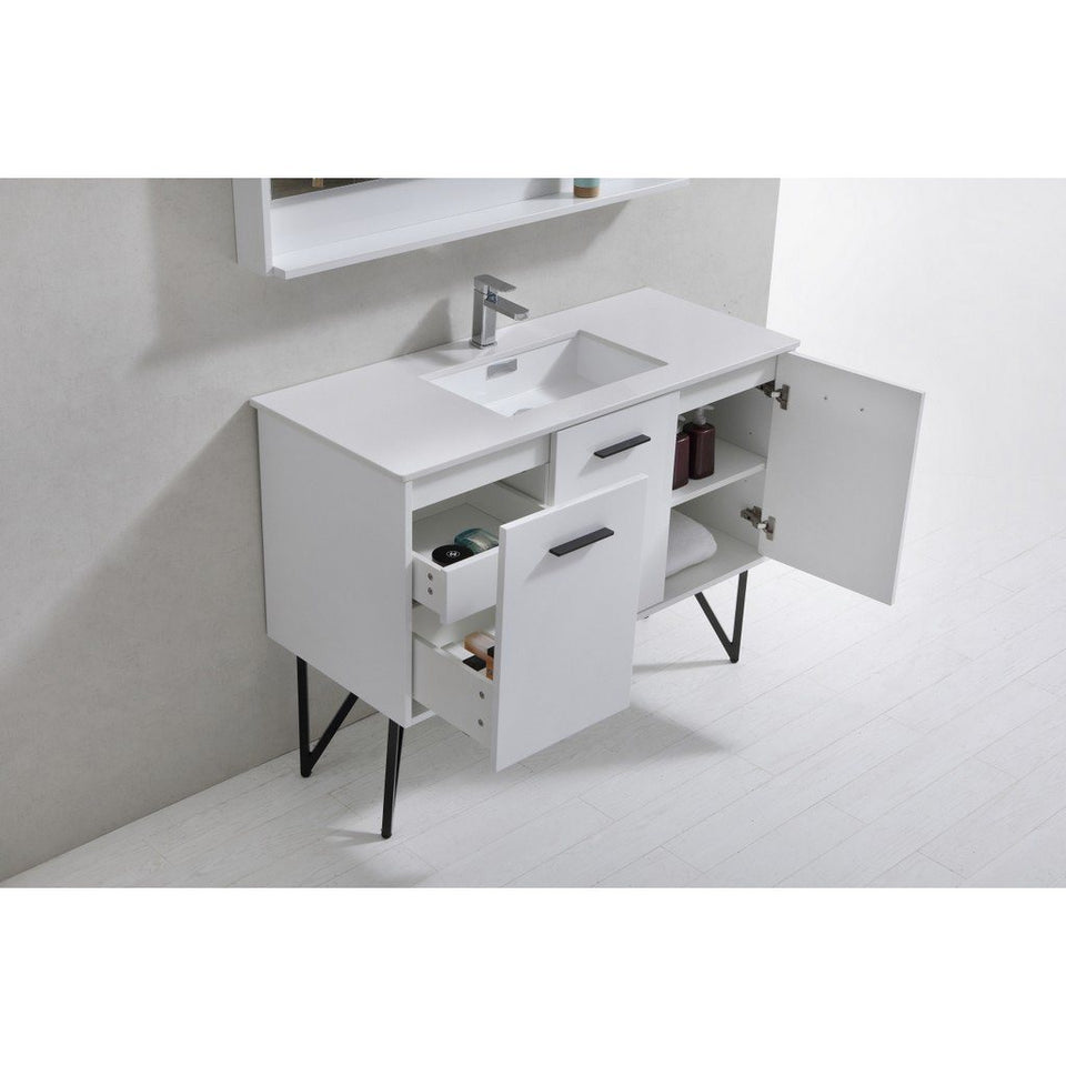 "KubeBath Bosco 48"" Modern Bathroom Vanity with Quartz Countertop KubeBath Vanities"
