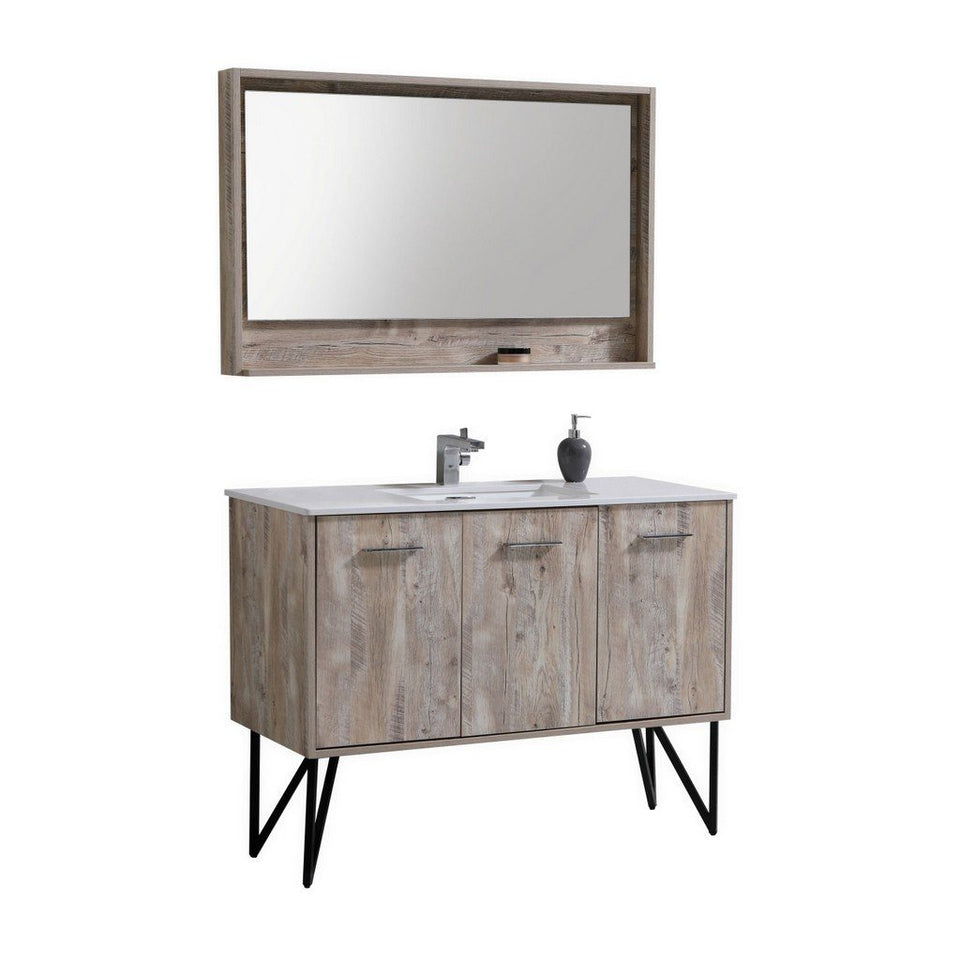 "KubeBath Bosco 48"" Modern Bathroom Vanity with Quartz Countertop KubeBath Vanities Natural Wood"